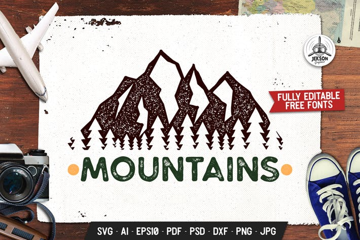 Thumbnail for Mountain Adventure Logo, Wild Retro Print Shirt