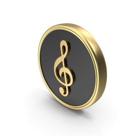 G Clef Music Coin Symbol Logo Icon