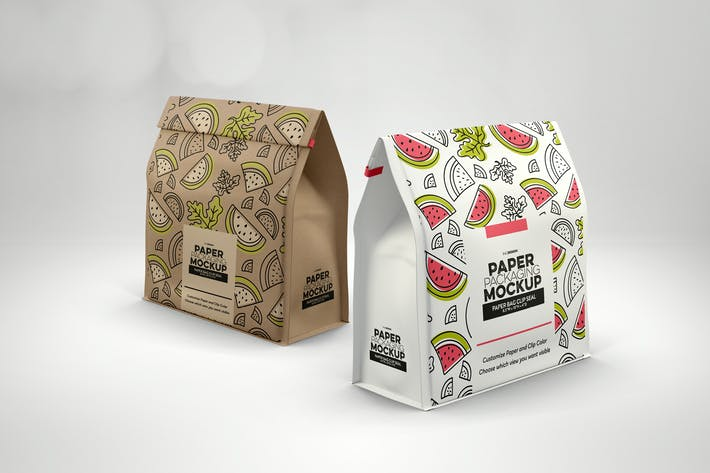 Thumbnail for Paper Bags with Clip Seal Packaging Mockup
