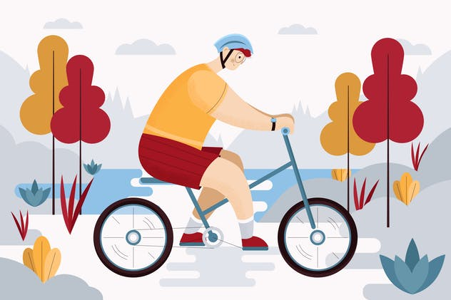 Young Man Riding A Bike Illustration