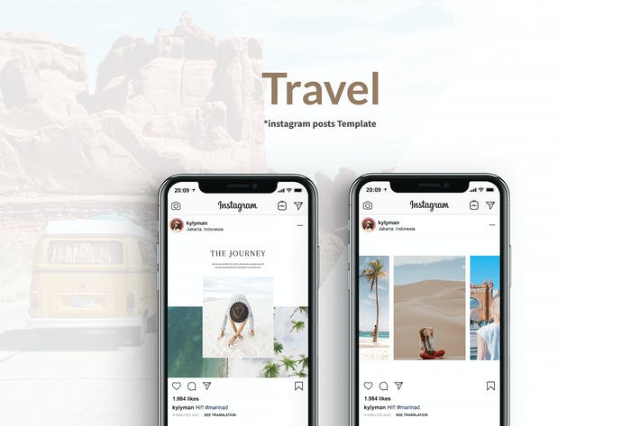Thumbnail for Travel Instagram Posts Template