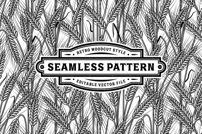 Thumbnail for Seamless Cereal Ears Pattern Black And White