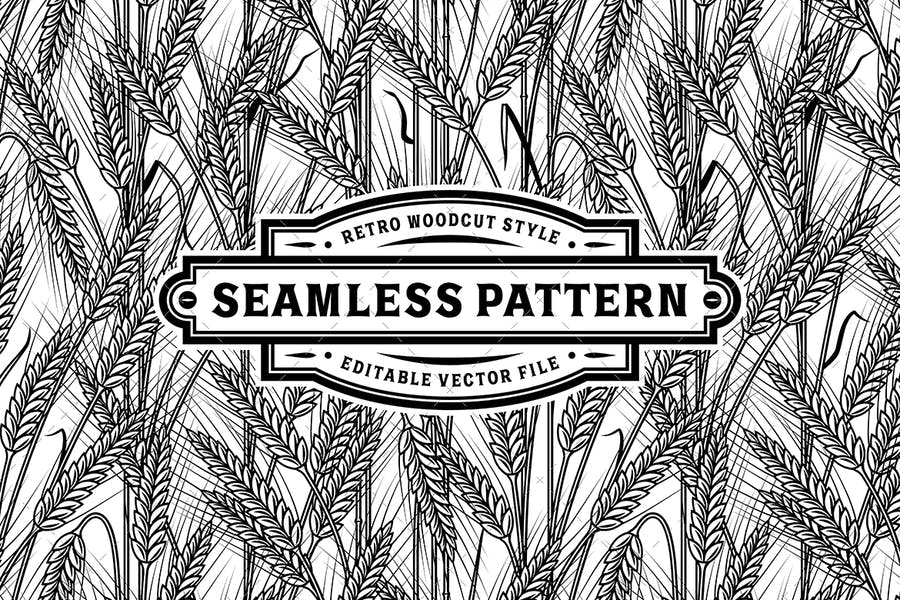 Seamless Cereal Ears Pattern Black And White