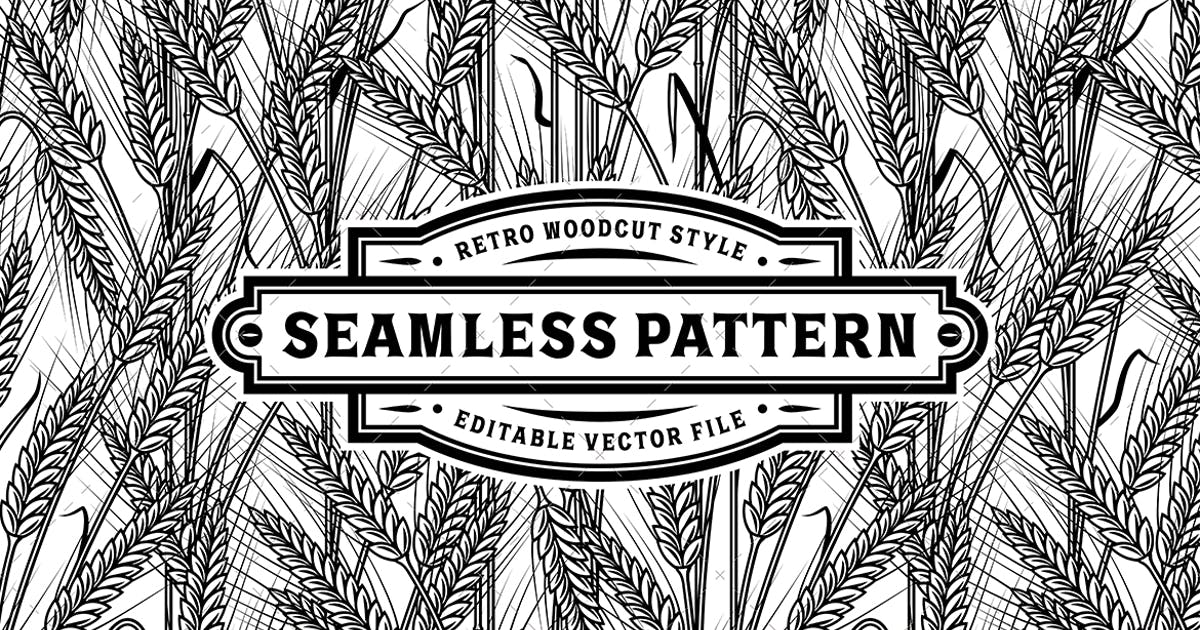 Download Seamless Cereal Ears Pattern Black And White by iatsun
