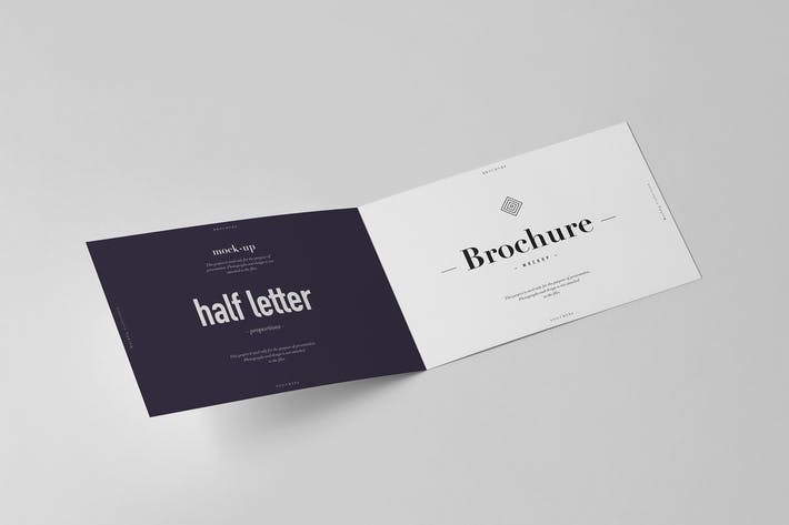 Thumbnail for Bi-Fold Half Letter Horizontal Brochure Mock-up