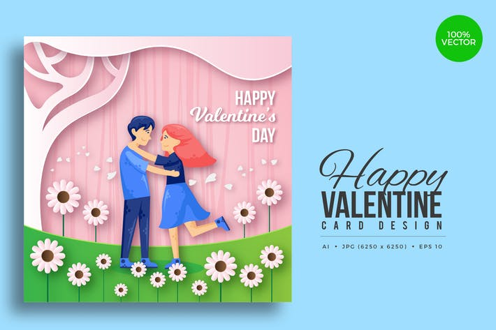 Thumbnail for Paper Art Valentine Square Vector Card Vol.9