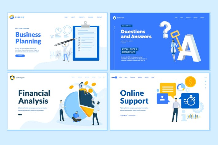 Cover Image For Set of Business Web Page Design Templates
