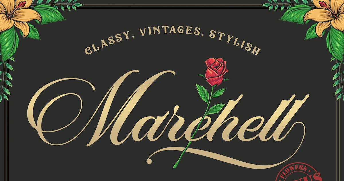 Download Marchell Font+ Bonus Vector Flowers by Blankids