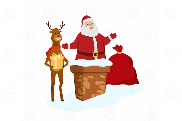 Thumbnail for Santa Claus with reindeer - vector illustration