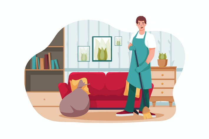Thumbnail for A man tidying up living room illustration concept