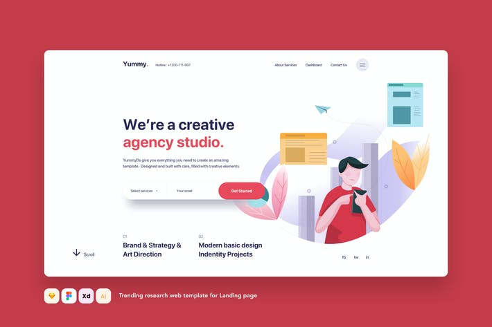 Thumbnail for Trending Research web template for Landing page