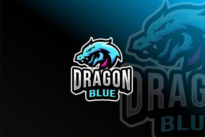 Thumbnail for Dragon Blue Esport Logo Template