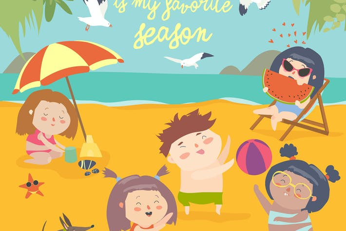 Thumbnail for Summer childs outdoor activities. Beach holiday.