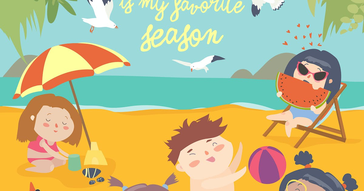 Download Summer childs outdoor activities. Beach holiday. by masastarus