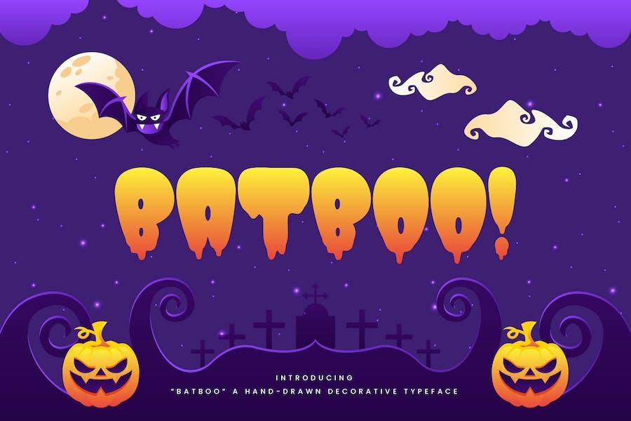 ¡  Batboo! - Figura decorativa de Halloween dibujada a mano.