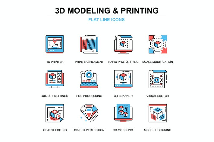 Thumbnail for Thin line 3D printing and modeling icons set