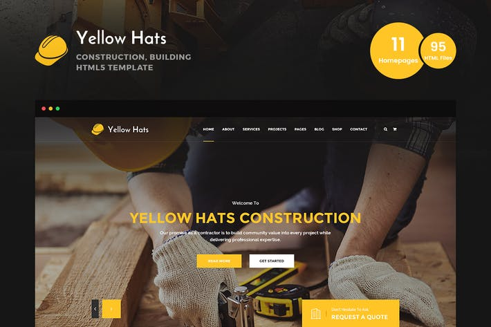 Thumbnail for Yellow Hats - Construction HTML5 Template