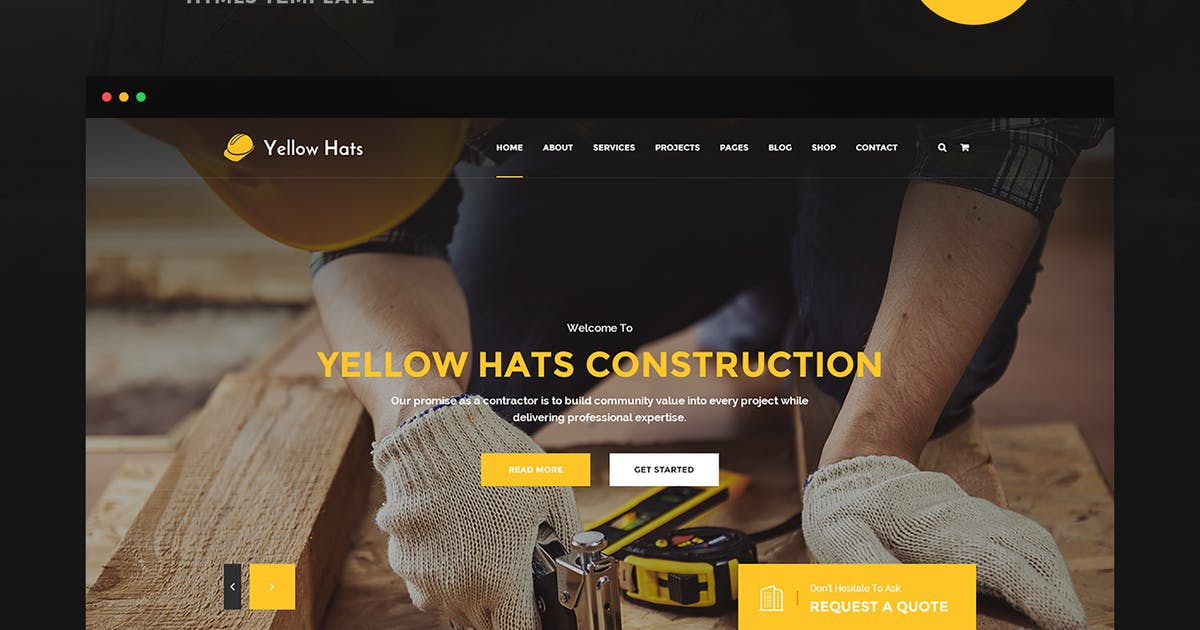 Download Yellow Hats - Construction HTML5 Template by 7oroof