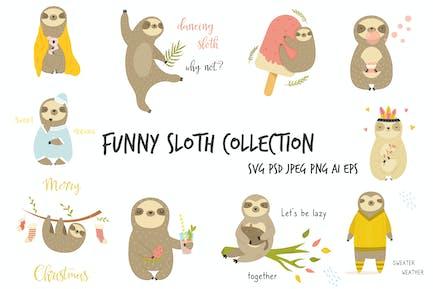 Set of Cute, Cheerful Sloth.