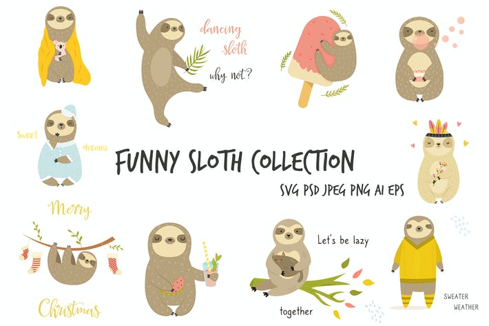 Thumbnail for Set of Cute, Cheerful Sloth.