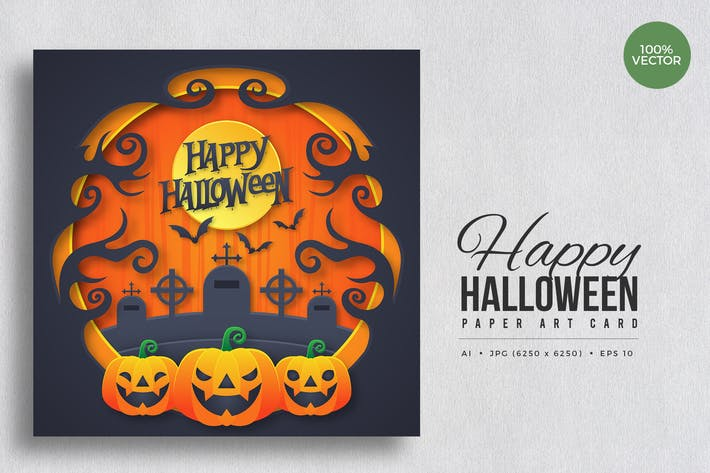 Thumbnail for Happy Halloween Paper Art Vector Card Vol.5