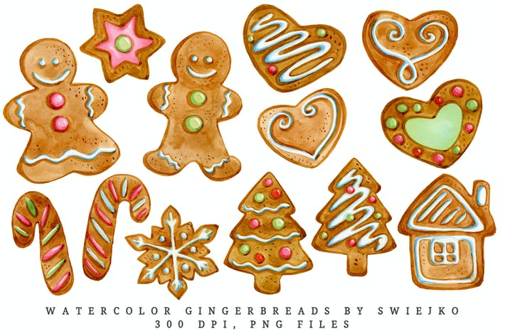 Thumbnail for Gingerbread illustration, watercolor clipart