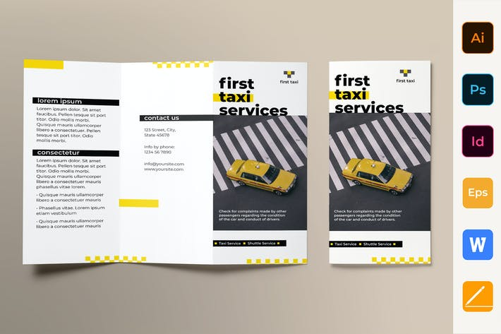 Thumbnail for Taxi Services Brochure Trifold