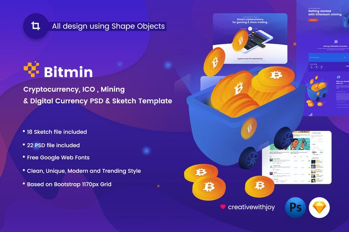 Thumbnail for BITMIN - ICO, Mining PSD & Sketch Template