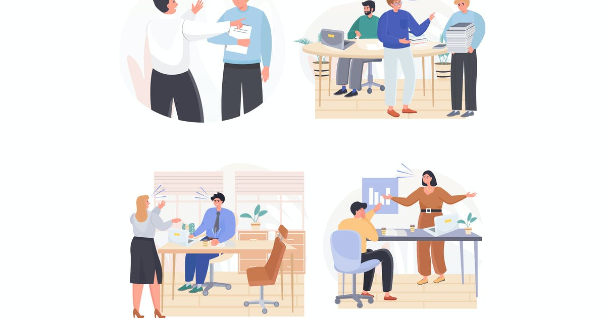 Download Rudeness In Business Team Concept Scenes Set by DesignSells