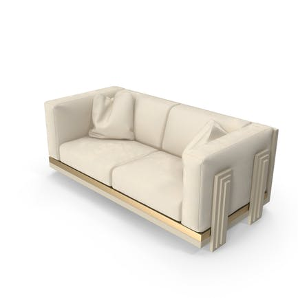 Двухместный бежевый диван