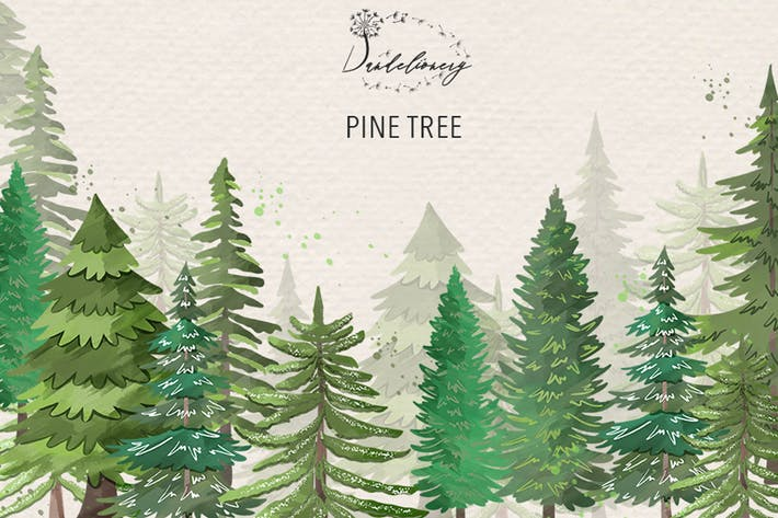 Thumbnail for Pine trees clip arts