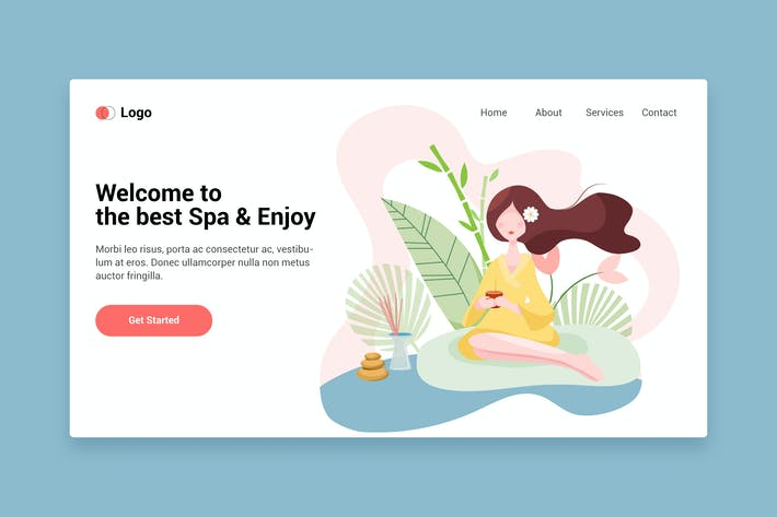 Thumbnail for Spa flat web template for Landing page