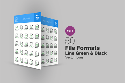 50 File Formats Line Green & Black Icons