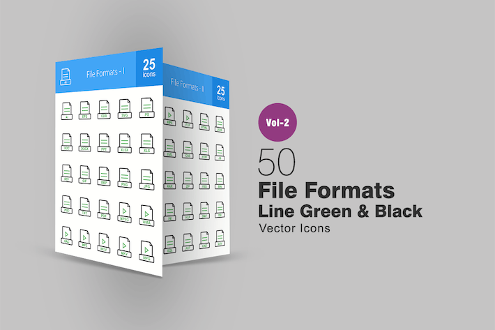 Thumbnail for 50 Dateiformate Linie Grün & Schwarz Icons
