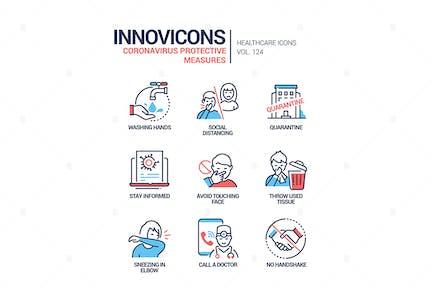 Coronavirus protective measures line design icons