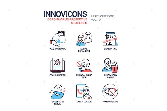 Thumbnail for Coronavirus Schutzmaßnahmen Linie Design Icons