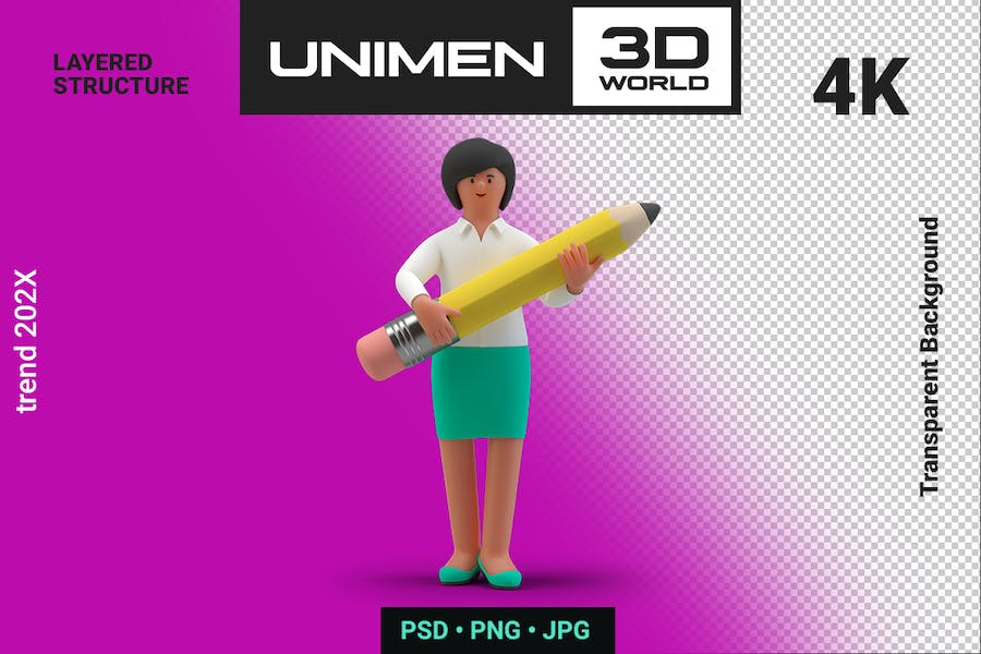 Businesswoman 3D Standing with Pencil