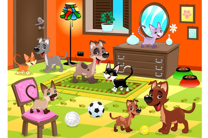 Thumbnail for Family of Cats and Dogs in the House