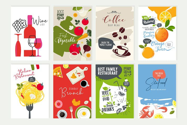 Thumbnail for Set of menu and brochure design templates