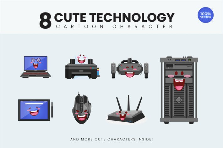 Thumbnail for 8 Cute Technology Device Vector Illustration 1