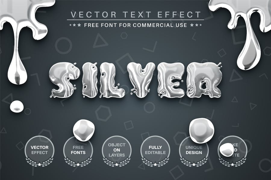 Liquid Silver -  Editable Text Effect, Font Style