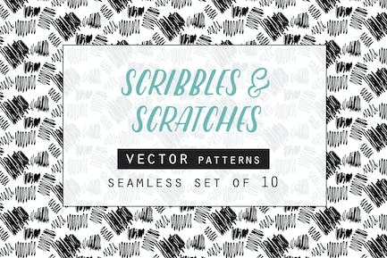 Scribbles & Scratches Seamless Vector Patterns