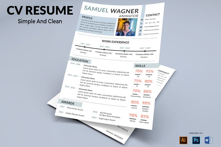 Cover Image For CV Resume Modern And Simple