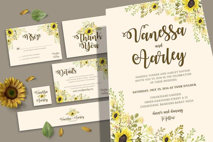 Thumbnail for Sunflower Wedding Invitation Set