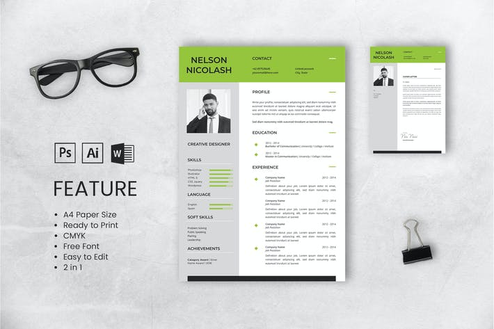 Thumbnail for Professional CV And Resume Template Nelson Nicolas