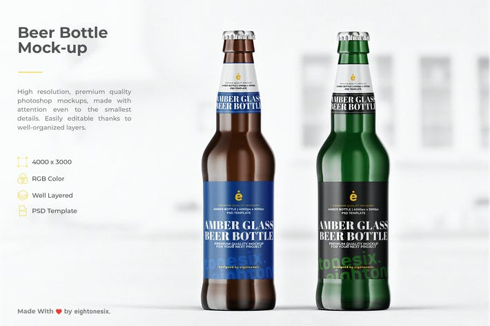 Thumbnail for Beer Bottle Mock-Up Template