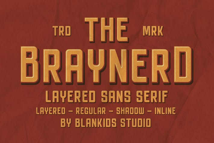 Thumbnail for Braynerd - Layered Sans Serif