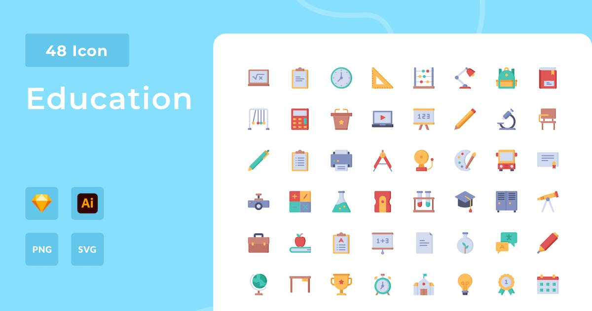 Download Education Flat Style Icon Pack by usedesignspace