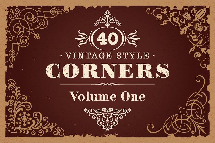 40 Vector Vintage Style Corners Set