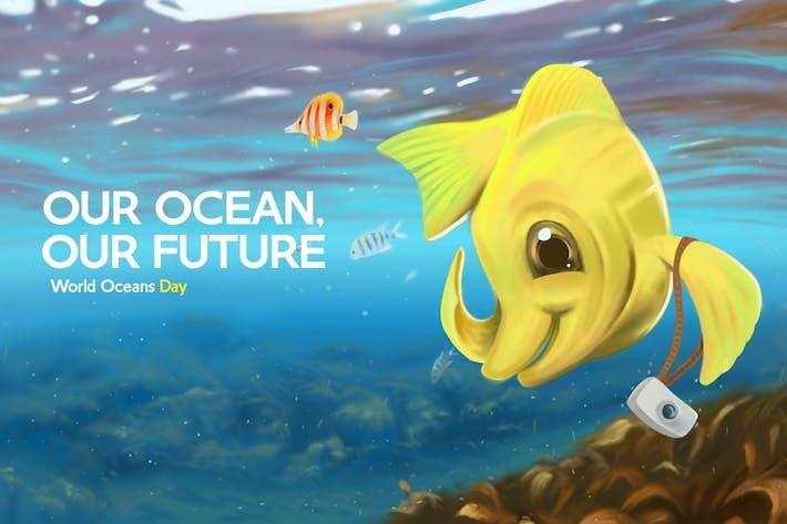 Thumbnail for Yellow Tang Fish Hand Drawn Digital Painting